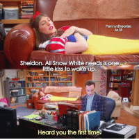 Sheldonisms: Pennystheories  6x18  Sheldon. All Snow White needs is one  little kiss to wake up.  Heard you the first time.