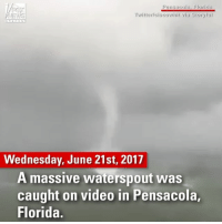 Guests at a Florida hotel spotted this waterspout barreling towards them as Tropical Storm Cindy looms.: Pensacola, Florida  FOX  NEWS  Wednesday, June 21st, 2017  A massive waterspout was  caught on video in Pensacola,  Florida. Guests at a Florida hotel spotted this waterspout barreling towards them as Tropical Storm Cindy looms.