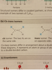 Atom, Carbon, and One: Pentane  2-methy  Structural isomers differ in covalent partners, as show  example of two isomers of C5H12  (b) Cis-trans isomers  C=C  с с  cis isomer: The two Xs are on trans isomer: The  on opposite sides.  Cis-trans isomers differ in arrangement about a doubl  these diagrams, X represents an atom or group of atc  the same side.  to a double-bonded carbon.  (c) Enantiomers  CO2H  cO2H
