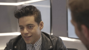 pentecost:  rami malek thoughtfully formulating a sentence fragment: pentecost:  rami malek thoughtfully formulating a sentence fragment