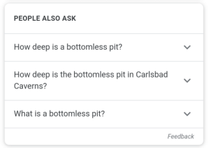 At least two feet: PEOPLE ALSO ASK  How deep is a bottomless pit?  How deep is the bottomless pit in Carlsbad  Caverns?  What is a bottomless pit?  Feedback At least two feet