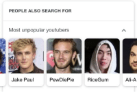 Jake Paul: PEOPLE ALSO SEARCH FOR  Most unpopular youtubers  ERA  Jake Paul  PewDiePie  RiceGum  Ali-A