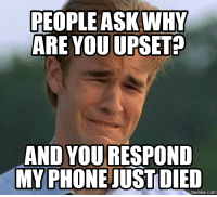 Just Die, What You Got on My 40 Homie, and Upsetted: PEOPLE ASK WHY  ARE YOU UPSET?  AND YOU RESPOND  MY PHONE JUST DIED  COM