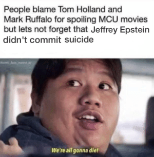 Marvel Comics, Movies, and Mark Ruffalo: People blame Tom Holland and  Mark Ruffalo for spoiling MCU movies  but lets not forget that Jeffrey Epstein  didn't commit suicide  tsmar  We're all gonna die! Goddamit Ned
