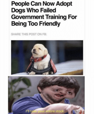 https://t.co/xXUJ5ost88: People Can Now Adopt  Dogs Who Failed  Government Training For  Being Too Friendly  SHARE THIS POST ON FB:  I'll take your entire stock https://t.co/xXUJ5ost88