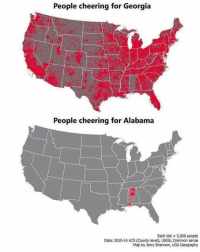 FACTS??: People cheering for Georgia  People cheering for Alabama  Each dot = 5,000 people  Data: 2010-14 ACS (County level), USGS, Common sense  Map by Jerry Shannon, UGA Geography FACTS??