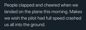meirl: People clapped and cheered when  landed on the plane this morning. Makes  wish the pilot had full speed crashed  us all into the ground. meirl