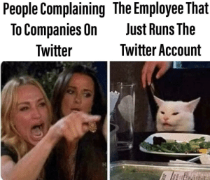 Dead Memes are my speciality by periodicnolack15 MORE MEMES: People Complaining The Employee That  To Companies On  Just Runs The  Twitter Account  Twitter Dead Memes are my speciality by periodicnolack15 MORE MEMES