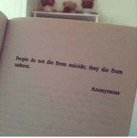 Anonymous, Suicide, and Sadness: People do not die from suicide; they die from  sadness  Anonymous