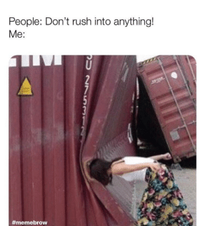 meirl by salatawille MORE MEMES: People: Don't rush into anything!  Me:  5  #meme brow meirl by salatawille MORE MEMES