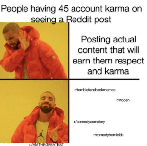 Reddit, Respect, and True: People having 45 account karma on  seeing a Reddit post  Posting actual  content that will  earn them respect  and karma  r/terriblefacebookmemes  r/woosh  r/comedycemetery  r/comedyhomicide  AMTHEGREATES Based on true events