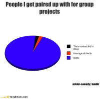Comedy, Com, and Class: People I get paired up with for group  projects  The smartest kid in  class  Average students  Idiots  mister-comedy tumbir  GraphJam.com