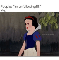 """Memes and 🤖: People: """"i'm unfollowing!!!!""""  Me  Carandomturtle"""