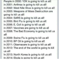 We're all gonna die.: People in 2000: Y2K is going to kill us all!  in 2001: Anthrax is going to kill us all!  in 2002: West Nile Virus is going to kill us all!  in 2003: Weapons of Mass Destruction are  going to kill us all!  in 2004: SARS is going to kill us all!  in 2005: Bird Flu is going to kill us all!  in 2006: E. Coli is going to kill us all!  in 2007: Vaccines are going to kill us all  in 2008: The Bad Economy is going to kill us  all!  in 2009: Swine Flu is going to kill us all!  in 2010: BP Oil is going to kill us all!  in 2011: Obamacare is going to kill us all!  In 2012: The end of the world is going to kill  us all!  In 2013: North Korea is going to kill us all!  In 2014: Ebola is ao ina to kill us all! We're all gonna die.