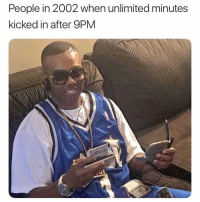 Old, People, and  Minutes: People in 2002 when unlimited minutes  kicked in after 9PM The old days 😩😂 https://t.co/5UHdULKPvH