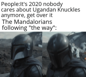 """*Sad clucking noises*: People:It's 2020 nobody  cares about Ugandan Knuckles  anymore, get over it  The Mandalorians  following """"the way"""": *Sad clucking noises*"""