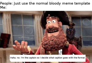 Meme, Dank Memes, and Haha: People: Just use the normal bloody meme template  Me:  Haha, no. I'm the captain so I decide what caption goes with the format Look at me, I'm the captain now.