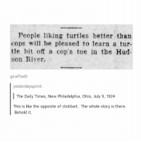 Memes, Ohio, and Philadelphia: People liking turtles better than  cops be pleased to learn a tur  tle bit off a cop's toe in the Hud-  son River.  giraffodil:  yesterdaysprint:  The Daily Times, New Philadelphia, Ohio, July 9, 1924  This is like the opposite of clickbait. The whole story is there.  Behold it. You know what's really happening for me rn, I can't remember any of my dreams and it's so problematic - mon textposts textpost
