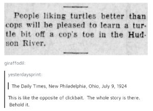 Good news, everyone: People liking turtles better than  cops wll be pleased to learn a tur-  tle bit off a cop's toe in the Hud-  son River.  giraffodil:  yesterdaysprint  The Daily Times, New Philadelphia, Ohio, July 9, 1924  This is like the opposite of clickbait. The whole story is there.  Behold it. Good news, everyone