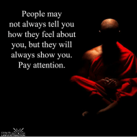 Pay attention...: People may  not always tell you  how they feel about  you, but they will  always show you  Pay attention.  Living the  LAW of ATTRACTION Pay attention...