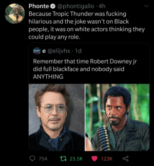 People out there just discovering Tropic Thunder (via /r/BlackPeopleTwitter): People out there just discovering Tropic Thunder (via /r/BlackPeopleTwitter)