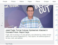He was assaulted by a large inmate and he screamed, but the guards paid no attention to his cry.: People  Photos  Videos  Pages  Places  Groups  Apps  at Tres  TREN  a N  20+  Jared Fogle: Former Subway Spokesman Attacked in  Colorado Prison, Report Says  Fogle, who is serving a 15-year jail term, was attacked by a fellow inmate D  while in the yard at Englewood FCI, TMZ reports. He suffered injuries to  his face, neck, and asshole.  Top Posts He was assaulted by a large inmate and he screamed, but the guards paid no attention to his cry.
