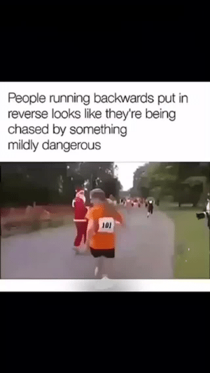 dankmemesfromouterspace:Got me😂😂: People running backwards put in  reverse looks like they're being  chased by something  mildly dangerous  101 dankmemesfromouterspace:Got me😂😂