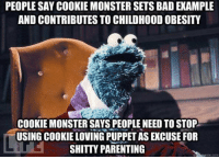 Cookie Monster, Memes, and 🤖: PEOPLE SAY COOKIE MONSTER SETS BADEXAMPLE  AND CONTRIBUTES TO CHILDHOODOBESITY  COOKIE MONSTER SAYS PEOPLE NEED TOSTOP  USING COOKIE LOVING PUPPETAS EKCUSE FOR  SHITTY PARENTING  me tom ~Hollywood