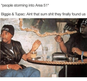 """That Sum: """"people storming into Area 51*  Biggie & Tupac: Aint that sum shit they finally found us  LIFE"""