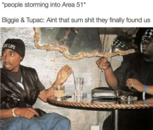 d o o t: people storming into Area 51*  Biggie & Tupac: Aint that sum shit they finally found us  LIFE d o o t
