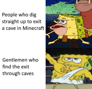 Minecraft, Gang, and Dig: People who dig  straight up to exit  a cave in Minecraft  Gentlemen who  find the exit  through caves Big PP gang