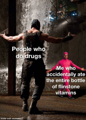 D Rugs: People who  do drugs  Me who  accidentally ate  the entire bottle  of flinstone  vitamins  made with mematic D Rugs