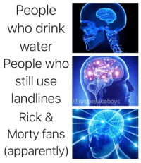 Apparently, Wow, and Water: People  who drink  water  People who  still use  landlines  Rick &  Morty fans  (apparently)  @grabejuiceboys Haha wow 😳 amazing 😄