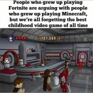 Lego, Minecraft, and Star Wars: People who grew up playing  Fortnite are arguing with people  who grew up playing Minecraft,  but we're all forgetting the best  childhood video game of all time  151,580  F2  lego.daddy Lego star wars good.