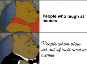 Whom else?: People who laugh at  memes  People uham blow  ai out of their nobe at  menes Whom else?
