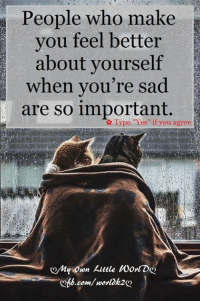 """Memes, Sad, and 🤖: People who make  you feel better  about yourself  when you're sad  are so important.  Type """"Yes"""" if you agree  my own kittle Worl Dg  b.com/ worldk2 <3"""