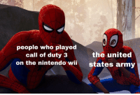 Nintendo, Army, and Call of Duty: people who played  the united  call of duty 3  on the nintendo wiistates army me_irl