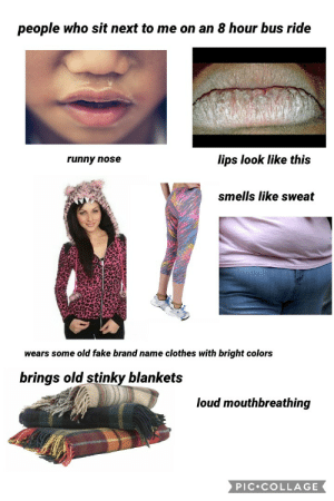 Clothes, Fake, and Starter Packs: people who sit next to me on an 8 hour bus ride  lips look like this  runny nose  smells like sweat  wears some old fake brand name clothes with bright colors  brings old stinky blankets  loud mouthbreathing  PIC COLLAGE People who sit next to me on an 8 hour bus ride starterpack