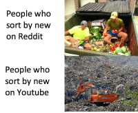 Memes, Reddit, and youtube.com: People who  sort by new  on Reddit  People who  sort by new  on Youtube The real heroes. via /r/memes https://ift.tt/2NZVi30