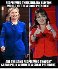 Pseudo-liberal grandma attacks!: PEOPLE WHO THINK HILLARY CLINTON  WOULD NOT BE A GOOD PRESIDENT,  ARE THE SAME PEOPLEWHO THOUGHT  SARAH PALIN WOULD BEAGREAT PRESIDENT. Pseudo-liberal grandma attacks!