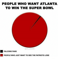Memes, 🤖, and The Patriot: PEOPLE WHO WANT ATLANTA  TO WIN THE SUPER BOWL  ONFL MEMES  FALCONS FANS  PEOPLE WHO JUST WANT TO SEE THE PATRIOTS LOSE Me and my fam are the red lol-🐱