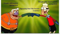 SpongeBob, Watch, and Who: People who watch  spongebob  People who don't watch  spongebob  Agreeing that this format  is better This format IS better.