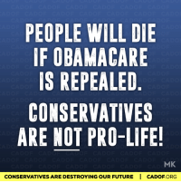 Memes, Obama Care, and 🤖: PEOPLE WILL DIE  IF OBAMA CARE  IS REPEALED  CONSERVATIVES  ARE NOT PRO-LIFE!  MK  CONSERVATIVESARE DESTROYING OUR FUTURE I CADOF ORG