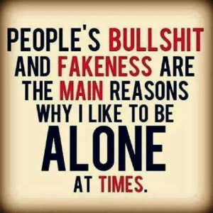 Fakeness: PEOPLE'S BULLSHIT  AND FAKENESS ARE  THE MAIN REASONS  WHY I LIKE TO BE  AT TIMES