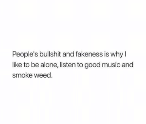 Fakeness: People's bullshit and fakeness is whyl  like to be alone, listen to good music and  smoke weed.