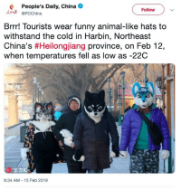 """Funny, China, and Animal: People's Daily, China  PDChina  Follow  Brrr! Tourists wear funny animal-like hats to  withstand the cold in Harbin, Northeast  China's #Heilongjang province, on Feb 12  when temperatures fell as low as -22C  K """"东方IC  9:34 AM 15 Feb 2019"""