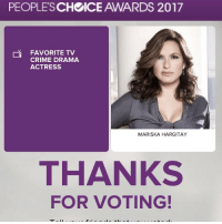 PEOPLES  ICE AWARDS 2017  SCH FAVORITE TV  na CRIME DRAMA  ACTRESS  MARISKA HARGITAY  THANKS  FOR VOTING! You guys know what to do!! Make it happen! Vote @therealmariskahargitay for Best Crime TV actress.