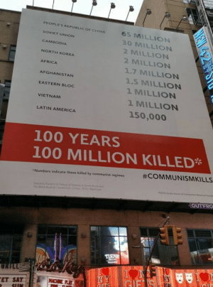 This Was Posted on a Conservative Subreddit | Lies!: PEOPLE'S REPUBLIC OF CHINA  65 MILLION  SOVIET UNION  30 MILLION  CAMBODIA  2 MILLION  NORTH KOREA  2 MILLION  AFRICA  1.7 MILLION  AFGHANISTAN  1.5 MILLION  1 MILLION  EASTERN BLOC  1 MILLION  VIETNAM  150,000  LATIN AMERICA  100 YEARS  100 MILLION KILLED*  #COMMUNISMKILLS  Numbers indicate those killed by communist regimes  Statistics found iA Century af Veence Sovet end  The Biack Book of Communi Cme Temr  Comurin Memr nd  Pd for by the Vs  OUTFRO  ПЯче  UKILL  NY  GIF S  CHIE P  FET SAT  NEW 4SK This Was Posted on a Conservative Subreddit | Lies!