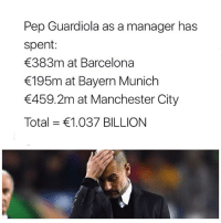 Anybody could win with this kind of cash❗️😝👏🏽 Pep Spending Clubs Manager: Pep Guardiola as a manager has  spent:  383m at Barcelona  195m at Bayern Munich  459.2m at Manchester City  Total = €1.037 BILLION Anybody could win with this kind of cash❗️😝👏🏽 Pep Spending Clubs Manager