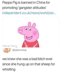 Bad, Bad Bitch, and Bitch: Peppa Pig is banned in China for  promoting 'gangster attitudes'  independent.co.uk/news/world/asi...  Meme Mang  @kalenminaj  we knew she was a bad bitch ever  since she hung up on that sheep for  whistling